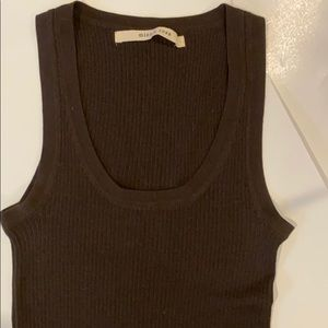 🔴 MINNIE ROSE SILK & CASHMERE RIBBED TANK BROWN